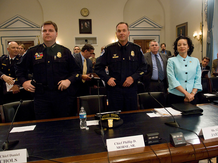 WASHINGTON, DC - June 18:  U.S. Capitol Police Assistant Chief Daniel Nichols, U.S. Capitol Police Chief Phillip D. Morse Sr., and U.S. Capitol Police Chief Administrative Officer Gloria Jarmon stand as Chairman Michael E. Capuano, D-Mass., enters the room before the House Administration Capitol Security Subcommittee hearing on upgrades to the U.S. Capitol Police radio communications system. (photo by Scott J. Ferrell/Congressional Quarterly)