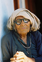 Portrait of an elderly Indian woman in the Himalayan foothills.