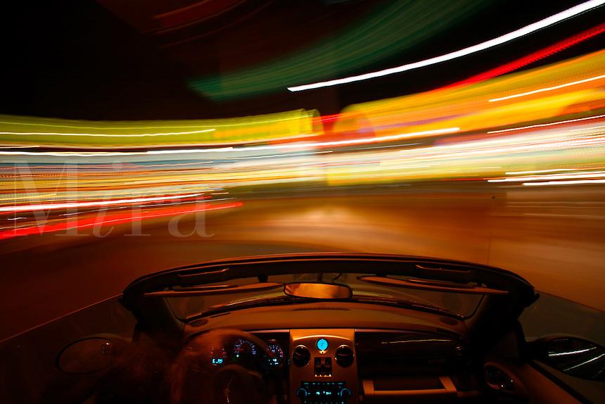 Driving down The Strip at night, Las Vegas, Nevada