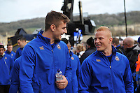 Ollie Devoto and Tom Homer of Bath Rugby share a joke prior to the match. Aviva Premiership match, between Bath Rugby and Northampton Saints on December 5, 2015 at the Recreation Ground in Bath, England. Photo by: Patrick Khachfe / Onside Images