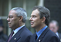 COLIN POWEL VISITS TONY BLAIR FOR ONE MIN SILENCE IN DOWNING STREET, LONDON THREE MONTHS ON FROM THE 9/11 TERRORTIST ATTACKS...