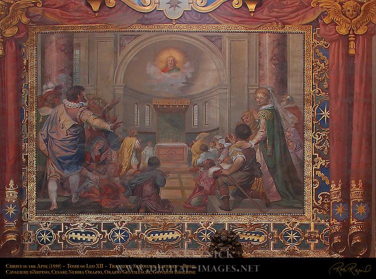 Jubilee Fresco, Christ in the Apse, Cavaliere d'Arpino, Cesare Nebbia Orazio, Orazio Gentileschi, Giovanni Baglione, 1599, Tomb of Leo XIII, Transept, St John in Lateran, Rome