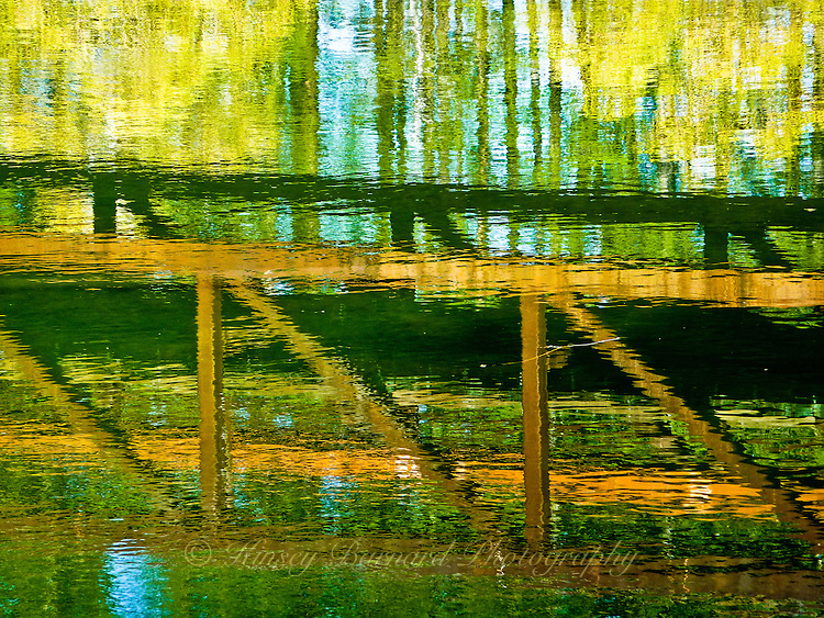 &quot;WHITEFISH CROSSING&quot;<br /> <br /> Autumn reflections of willows, aspen and a bridge over Whitefish River in Whitefish Montana ORIGINAL 24 X 36 GALLERY WRAPPED CANVAS SIGNED BY THE ARTIST $2,500. CONTACT FOR AVAILABILITY.