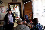 Kendrick Brinson.LUCEO..Dan Sumners, 65, talks to friends after eating his lunch in Lonnie's Roadhouse, a diner alongside Highway 2 in Williston, North Dakota, January 2012. Williston is currently experiencing an influx of people relocating there for the town's third oil boom...Model Released: yes.Assigning Editor: Michael Wichita.