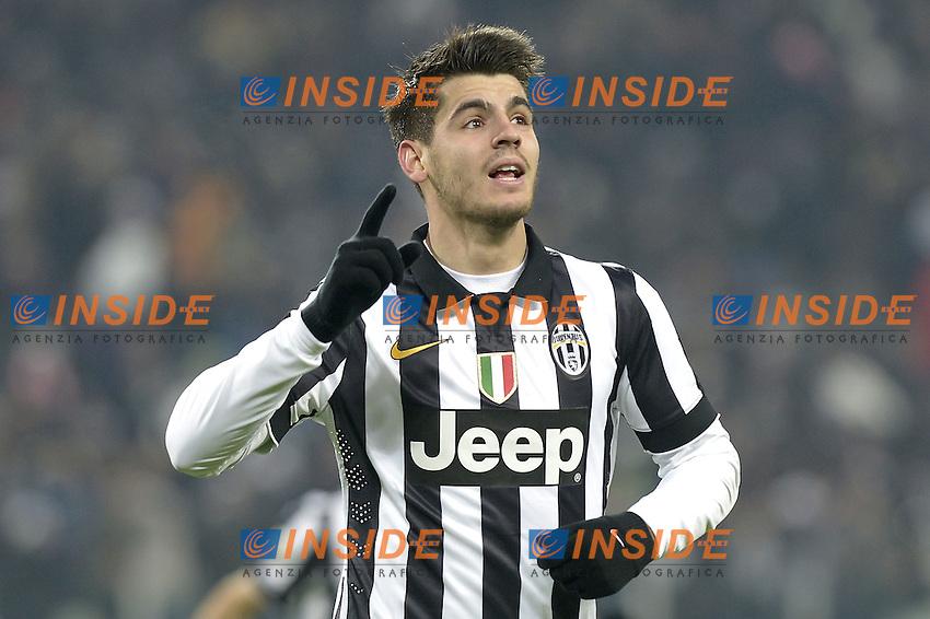 Esultanza Alvaro Morata Juventus dopo gol, goal celebration,<br /> Torino 07-02-2015, Juventus Stadium, Football Calcio 2014/2015 Serie A, Juventus - Milan, Foto Filippo Alfero/Insidefoto