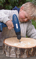 Kinder basteln Nisthilfen für Wildbienen und Wespen, Insektenhotel, Insekten-Hotel, in eine Baumscheibe werden Löcher verschiedener Größe gebohrt, in den Löchern können Wildbienen nisten