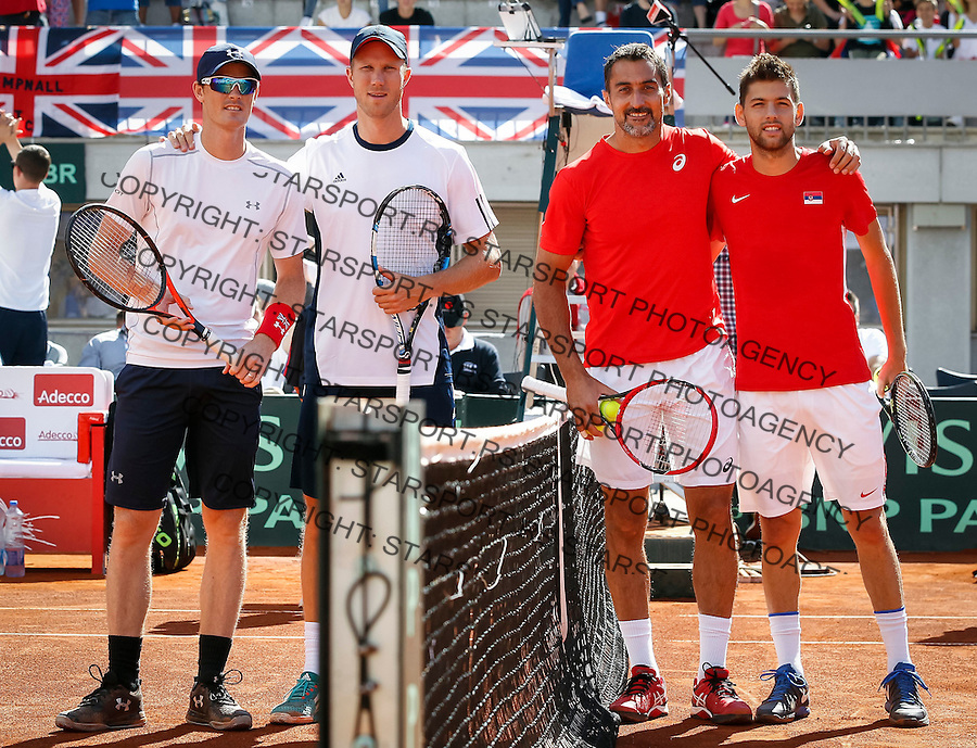 BELGRADE, SERBIA - JULY 16: Jamie Murray Dominic Inglot of Great Britain and Nenad Zimonjic Filip Krajinovic pose for the photo prior day two of the Davis Cup Quarter Final match between Serbia and Great Britain on Stadium Tasmajdan on July 16, 2016 in Belgrade, Serbia. (Photo by Srdjan Stevanovic/Getty Images)