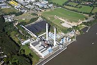 Heizkraftwerk Wedel Business Park Elbufer : DEUTSCHLAND, SCHLESWIG HOLSTEIN, WEDEL, 31.08.2016: Heizkraftwerk Wedel und  Business Park Elbufer.  Auf 180.000 m² soll neben dem Kraftwerk ein Buissenes Park entstehen.