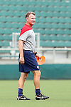 19 August 2014: Assistant coach Steve Swanson. The United States Women's National Team held a public training session at WakeMed Stadium in Cary, North Carolina.