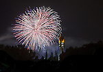 1207-05 32 GCS Bell Fireworks<br /> <br /> Fireworks from the stadium of fire behind the Bell Tower.<br /> <br /> July 4, 2012<br /> <br /> Photo by Jonathan Hardy/BYU<br /> <br /> &copy; BYU PHOTO 2012<br /> All Rights Reserved<br /> photo@byu.edu  (801)422-7322