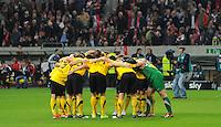 4. November 2011: Duesseldorf, Esprit-Arena: Fussball 2. Bundesliga, 14. Spieltag: Fortuna Duesseldorf - SG Dynamo Dresden: Dresdens Spieler schwoeren sich auf das Match ein.