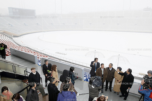 (L to R)  JOCIchiro Kono,    Sebastian Coe LOCOG Chairman, February 29, 2012 - JOC : Sebastian Coe LOCOG Chairman of the London 2012 Olympic Games inspected National Stadium in Tokyo, Japan. In Tokyo, snow lay from the this morning. . (Photo by Yusuke Nakanishi/AFLO SPORT) [1090]