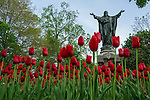 Jesus, statue, Main, Quad, scenic, spring, sacred, heart by Barbara Johnston/University of Notre Dame