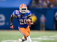 Florida tight end Omarius Hines runs the ball during 79th Sugar Bowl game against Louisville at Mercedes-Benz Superdome in New Orleans, Louisiana on January 2nd, 2013.   Louisville Cardinals defeated Florida Gators, 33-23.