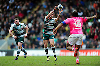 Owen Williams of Leicester Tigers receives the ball. European Rugby Champions Cup quarter final, between Leicester Tigers and Stade Francais on April 10, 2016 at Welford Road in Leicester, England. Photo by: Patrick Khachfe / JMP