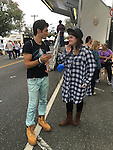 ROBBIE ROSEN, an American Idol Season 10 Semi-finalist in 2011, talks with a fan at the Merrick Chamber of Commerce Fall Festival on Long Island. Rosen is a Merrick resident.