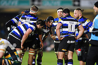 The Bath Rugby team huddle together during a break in play. Aviva Premiership match, between Bath Rugby and Northampton Saints on February 10, 2017 at the Recreation Ground in Bath, England. Photo by: Patrick Khachfe / Onside Images