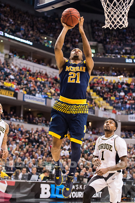 The University of Michigan men's basketball team falls to Purdue, 76-59, at Bankers Life Fieldhouse in Indianapolis, IN on March 12, 2016.