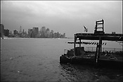 In the aftermath of the September 11th 2001 terrorist attack on the World Trade Centre buildings by AL-Qaeda terrorists the once iconic skyline view of lower Manhattan was dramatically changed, most noticeable by commuters on the ferries that service the south west of the island, New York, United States of America.