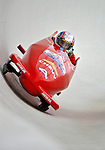 5 January 2008: NHRA Top Fuel competitor Morgan Lucas exits a turn at the 3rd Annual Chevy Geoff Bodine Bobsled Challenge at the Olympic Sports Complex on Mount Van Hoevenberg, in Lake Placid, New York...Mandatory Photo Credit: Ed Wolfstein Photo