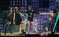 20/11/131<br /> B*Witched (L-R) Lindsay Armaou ,Lindsay Armaou and Sisters Edele  and Keavy Lynch pictured performing at the Cheerios Childline Concert at the O2 Dublin this evening&eth;. <br /> Pic Collins Photos