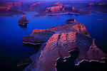 Lake Powell was created when Glen Canyon Dam was completed in 1962, blocking the Colorado River, Utah.
