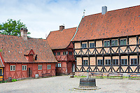 Mayor's House and Town Square at Den Gamle By, The Old Town, open-air folk museum, Aarhus,  East Jutland, Denmark