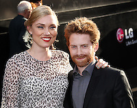 """HOLLYWOOD, LOS ANGELES, CA, USA - MAY 08: Clare Grant, Seth Green at the Los Angeles Premiere Of Warner Bros. Pictures And Legendary Pictures' """"Godzilla"""" held at Dolby Theatre on May 8, 2014 in Hollywood, Los Angeles, California, United States. (Photo by Xavier Collin/Celebrity Monitor)"""