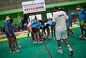 A member of the Indian Kabbadi team is injured during Kabbadi training at a month long camp in Sport Authority of India Sports Complex in Bisankhedi, outskirts of Bhopal, Madhya Pradesh, India.