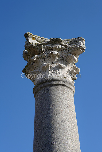Detail of column and capital in the House of the Birds, Italica, Seville, Spain, pictured on December 28, 2006, in the morning. This column, with capital decorated with acanthus leaves, is in the style of the Corinthian order. Italica was founded by Scipio Africanus in 206 BC as a centre for soldiers wounded in the Battle of Ilipa, a defeat for Carthage during the Punic Wars, and became a military outpost. The name signifies that the original settlers were from an Italian regiment. It was one of the first cities in Roman Hispania and was the birthplace of two Roman Emperors: Trajan (53-117 AD) and Hadrian (76-138 AD). The House of the Birds is named for its central mosaic. It is the most Italian in style of the houses in Italica. The city declined after the fall of the Roman Empire. Picture by Manuel Cohen.