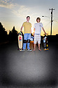 WA03550-00....WASHINGTON - Skateboaders Hunter Burke and Logan Kirkendall in Edmonds.