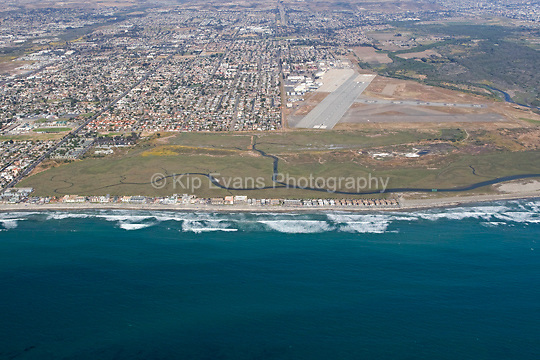 Aerial view of the Tijuana River National Estuarine Reserve looking east.