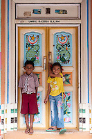 Front door of a home in Thittacheri. South India.