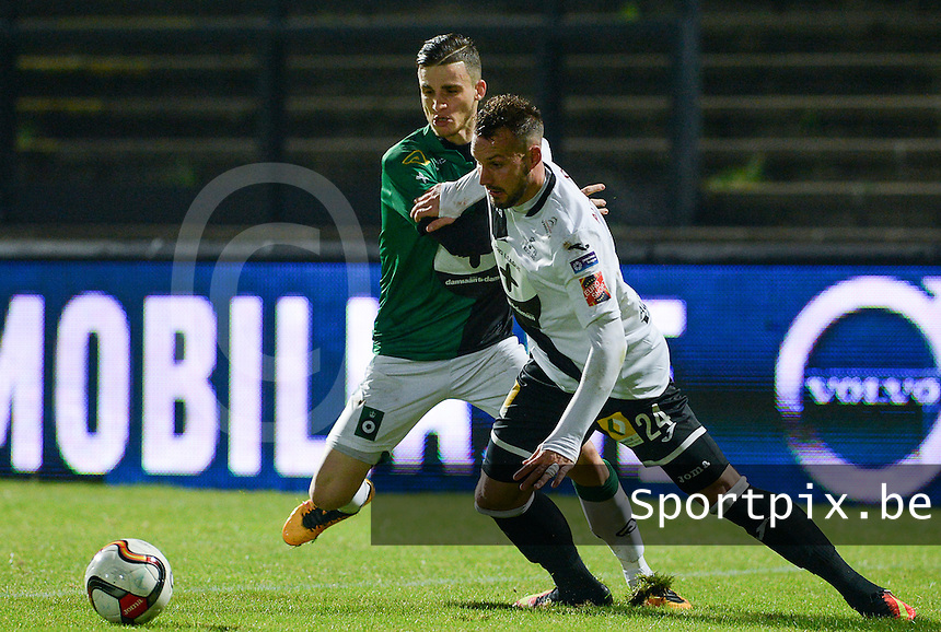 20161217 - ROESELARE , BELGIUM : Roeselare's Mathieu Cornet (r) pictured with Cercle's Pierre Bourdin (left) during the Proximus League match of D1B between Roeselare and Cercle Brugge, in Roeselare, on Saturday 17 December 2016, on the day 20 of the Belgian soccer championship, division 1B. . SPORTPIX.BE | DAVID CATRY