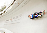 "5 December 2015: Karoline Melaas, competing for Norway, slides through Curve 10 ""Shady"" on her first run of the Viessmann World Cup Women's Luge at the Olympic Sports Track in Lake Placid, New York, USA. Mandatory Credit: Ed Wolfstein Photo *** RAW (NEF) Image File Available ***"