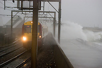 03/02/11 Saltcoats seafront battered by sea