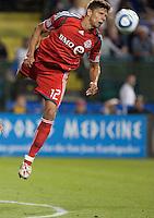 Adrian Cann (12) heads the ball. Toronto FC defeated the San Jose Earthquakes 3-1 at Buck Shaw Stadium in Santa Clara, California on May 29th, 2010.