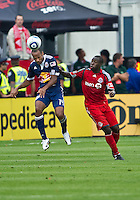 21 August 2010: New York Red Bulls forward Thierry Henry #14 and Toronto FC defender Nana Attakora #3 in action during a game between the New York Red Bulls and Toronto FC at BMO Field in Toronto..The New York Red Bulls won 4-1.