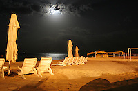 Empty beach under moon light.