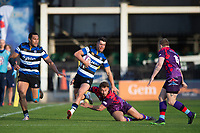 Adam Hastings of Bath United takes on the UK Armed Forces defence. Remembrance Rugby match, between Bath United and the UK Armed Forces on May 10, 2017 at the Recreation Ground in Bath, England. Photo by: Patrick Khachfe / Onside Images