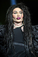 Pete Burns of Dead or Alive<br /> Performing at the PWL Hit Factory Live, o2 Arena, London, England, UK, <br /> 21st December 2012.<br /> music live on stage concert gig half length  black dress green contact lenses make-up pearl necklace <br /> CAP/MAR<br /> &copy; Martin Harris/Capital Pictures /MediaPunch ***NORTH AND SOUTH AMERICAS ONLY*** /MediaPunch ***NORTH AND SOUTH AMERICAS ONLY***