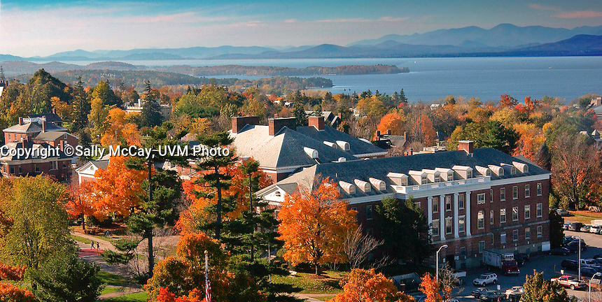 View of Waterman and Lake Champlain, UVM Campus, Fall