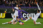 26.02.2015. Florence, Italy. Europa League Football. Fiorentina versus Tottenham Hotspur.   Vertonghen slips and lets in Mohamed Salah for the Fiorentina second Goal