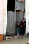 Central America, Cuba, Remedios. Cuban mother and son in Remedios.