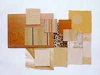 A collection of fabric swatches illustrating the colour range from sand to ochre