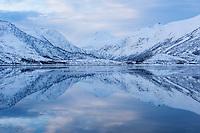 Winter mountain reflections on Vatterfjordpollen, Austvågøy, Lofoten Islands, Norway