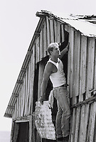 Man in a tank top repairing a tin roof of a barn