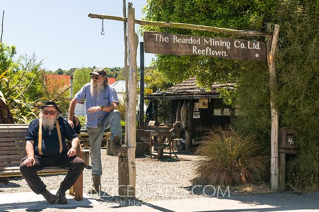 Famous bearded miners in Reefton,West Coast, Buller Region, New Zealand