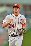 15 June 2012: Washington Nationals outfielder Bryce Harper trots back to the dugout during action against the New York Yankees at Nationals Park in Washington, DC. The Yankees defeated the Nationals 7-2 in the first game of their 3-game series. Mandatory Credit: Ed Wolfstein Photo