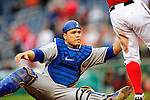 24 April 2010: Los Angeles Dodgers' catcher Russell Martin gets Ivan Rodriguez out at the plate in the 13th inning of a game against the Washington Nationals at Nationals Park in Washington, DC. The Dodgers edged out the Nationals 4-3. Mandatory Credit: Ed Wolfstein Photo